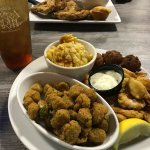 Fried shrimp with mac and cheese and fried okra! #AMAZING