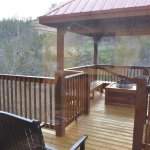 Main floor deck, fire pit, and chairs.