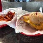Bacon and avocado burger and sweet potato fries