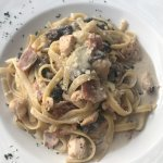 Chicken, bacon and mushroom fettuccine. Delicious.