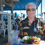 A Fisherman's fan enjoys the colorful house salad.