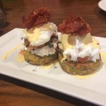 Gardens Montreal (herb rosti, goats cheese, salmon, egg, crispy prosciutto and hollandaise
