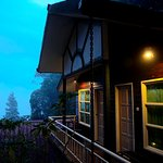 The vanrandor of the chalet provides great view of Mt. Kinabalu