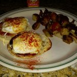Eggs Benedict with hash browns