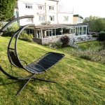 Garden with swing chair