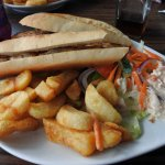 Hot chicken pannini and superb chips.