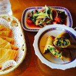 vegetarian spring rolls; thai beef salad