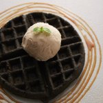Charcoal Waffles with Salted Egg York Sauce and African Rooibos Ice Cream
