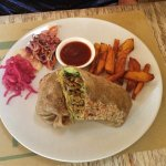 Vegie wrap and sweet potato chips