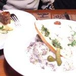 Bread onion soup, beffstroganoff, goose liver