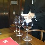 The wine tasting from this beautifull glasses offered by sommelier.