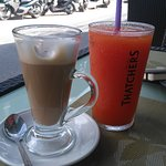 Cafe Latte and Papaya shake made of fresh fruits