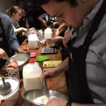 whisking the milk base