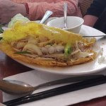Crispy Vietnamese pancake with seafood