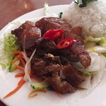 Roast duck with rice and salad