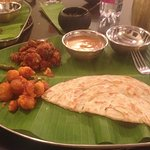 Great South Indian meals served on a banana leaf