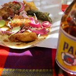 yum.....fish tacos on flour tortillas....