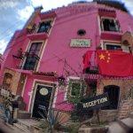 Front of hostal (with fish-eye lens)