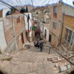 Walking down Callejon Zaragoza from hostal (with fish-eye lens)