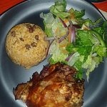 Rice, Bbq chicken and salad