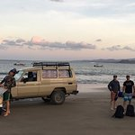 Taking the Landrover to Two Brothers boat for a day of surfing and fishing