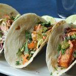Mike's Tacos; choose chicken, steak or salmon. Get the salmon!