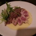 FRESH SEARED AHI TUNA on a cream sauce