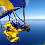 Birds-eye aerial tour of Lake Tahoe in a powered hang glider with Hang Gliding Tahoe.