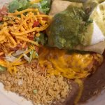 Rice, beans & salad w/pork chile verde chimichanga