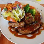 Barbecued Pork Ribs, steamed vegetables and salad