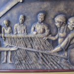 Depiction of silk weaving at the reception