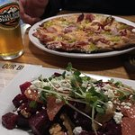 Beet salad and pizza