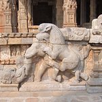 Stone carvings and sculptures inside the temple.