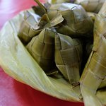 Puso - rice cooked in coconut leaf casing