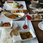 Sri Lankan and western breakfast spread