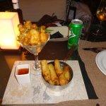 Shrimps and spring rolls