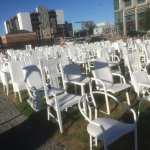 The Earthquake Chair Memorial next to Cardboard Cathedral.