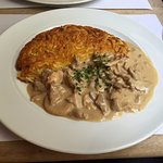 veal with mushroom cream sauce and rosti - yum