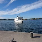Here comes one of the big ferries that can take you round in the Archipelago.