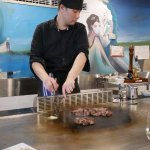 Private chef cooks the Teppanyaki banquet at Tomiko