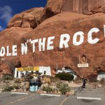 "The Hole N"" The Rock painted on the cliff side"