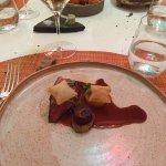 Mousse chocolat sapin  Saint-Jacques à la pistache Canard à l'orange