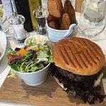 Chocolate pot, scotch egg and quiche, venison burger