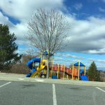 Playground view from parking lot