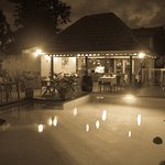 The pool/restaurant by night
