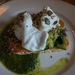 Avocado and Eggs on toast with pesto