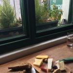 Cheese platter with a view of the church outside