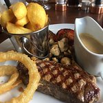 The steak was beautifully presented but didn't deliver on the taste or cook of the steak