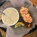 Lobster Roll and Clam Chowder- Fresh and Very Good. Roll is a hotdog bun.