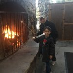Our Cottage and fire pit near lobby
